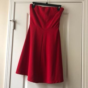 The Limited Red Strapless Knee Length Dress